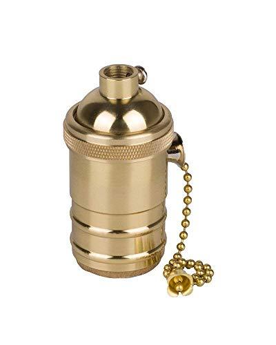 PIANUO - Soporte de lámpara de latón retro con interruptor de chian de rosca E27 para lámpara colgante de pared de bombilla Edison antigua