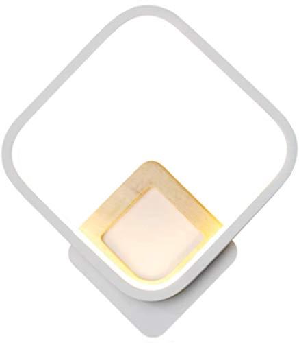 Lámparas de pared industriales, Luz de pared moderna noche de noche luz blanca estilo cuadrado 16w cálido blanco claro lámpara de pared lámpara de pared de madera pintada de metal de madera con sombra
