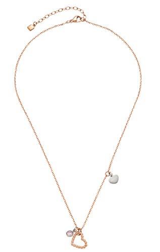 CIAO BY LEONARDO Damen-Halskette Amore, Edelstahl IP roségold mit Anhängern in Herzform und Glasstein, mit Karabinerverschluss, Länge 400 mm, 016911