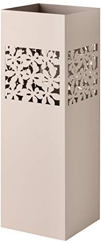Baroni Home Paragüero cuadrado de metal con incrustación rectangular de flores gris de paloma 15,5x15,5x49 cm con gancho y bandeja recogegotas extraíble