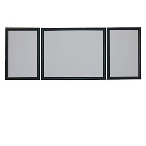 RAABEC Triptychon Bilderrahmen Set 3teilig, Größe 98 x 38 cm, Farbe Schwarz, ideal für Triptychon Puzzle z.B. von Ravensburger