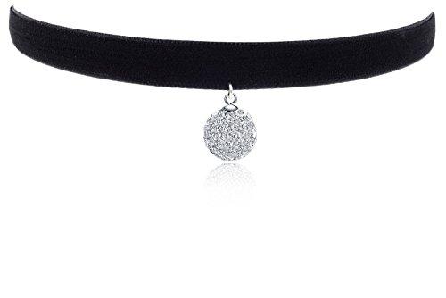 Cozylife Cz Pendientes de Diamante Negro Velvet Retro Chicas Collar Choker Mujer