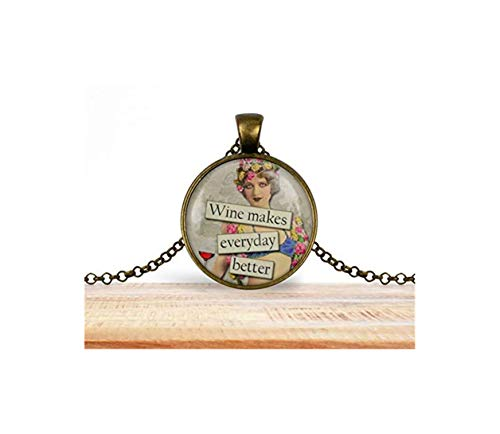 Bloody devil Collar con diseño de imagen artística, collar con colgante para amantes del vino, opción de plata o bronce, opción de llavero