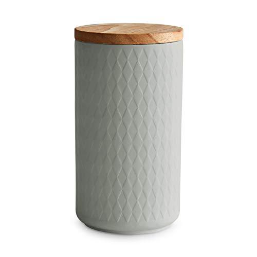 Keramik Vorratsdosen mit Holzdeckel Misty Cliff, Luftdichter Kautschukholz-Deckel, Aufbewahrungsdosen, Frischhaltedosen - 10,1 x 18,3 cm hellgrau