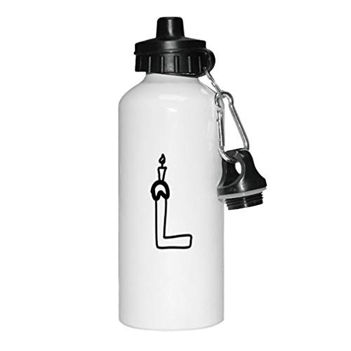 aqf527907 Zwart L Verjaardagskaars Monogram Letter L Nieuwigheid Wit Sport Waterfles Aluminium, School Waterfles, Verjaardag, voor mannen, voor vrouwen