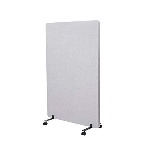 Mendler Akustik-Trennwand HWC-G77, Büro-Sichtschutz Raumteiler Pinnwand, doppelwandig rollbar Stoff/Textil ~ 127x80cm grau
