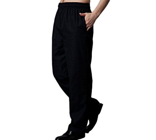 Nanxson Unisex Herren Damen Arbeitshose Kochhose Hotel Hose mit elastischer Taille CFM2008- (Schwarz, Taille: 67-90 cm) - 2