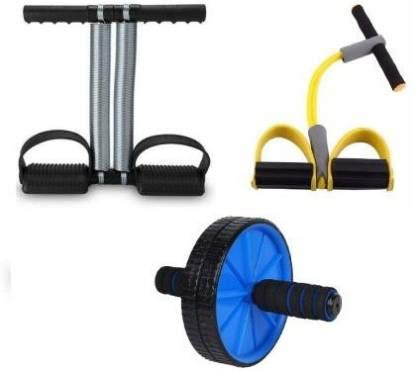 COMODO Double Spring Tummy Trimmer, Double Wheel AB Roller and Pull Reducer Combo for Abs Core Abdominal Workout Back Exercise Strength Training Home Gym Equipment Fitness Body Toner for Men and Women