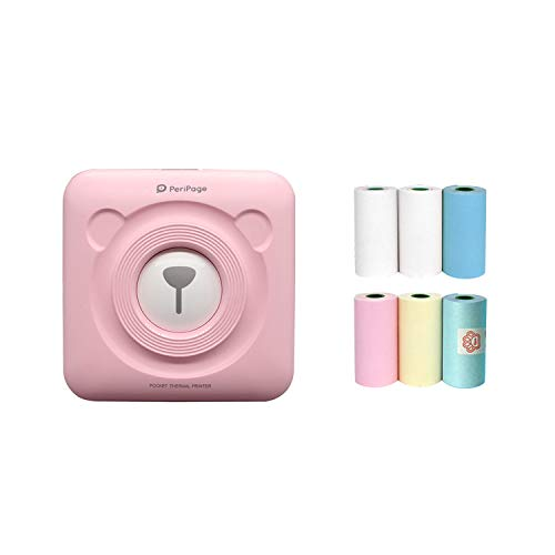 Portable Mini Printer, Mini Mobile Phone Photo Note Printer, 57mm Wireless Bluetooth Thermal Label Printer, Compatible with All Smart Phones, (Pink)