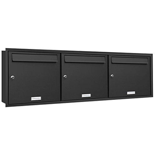 AL Briefkastensysteme, 3er Unterputzbriefkasten in Anthrazit Grau RAL 7016, Briefkastenanlage 3 Fach, Postkasten modern