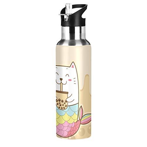 Sports Water Bottle Cute Cat Mermaid Drinking Bubble Milk Tea Double Stainless Steel Walled Vacuum Insulated Travel Water Bottle 20 oz