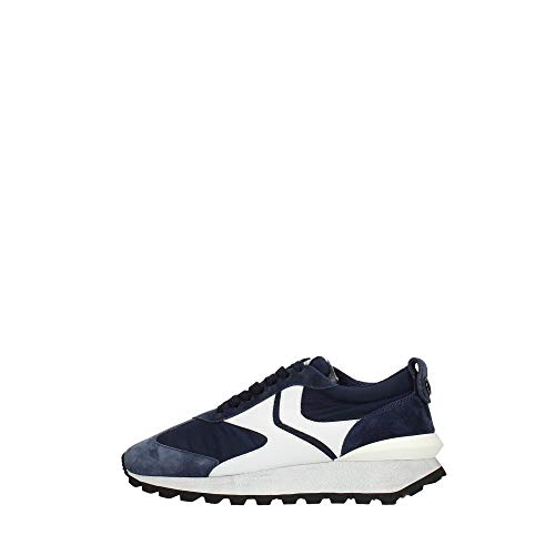 VOILE BLANCHE QWARK Man-Sneaker in Tessuto Tecnico, Suede e Pelle Blu 44