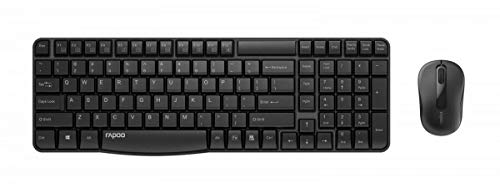 Rapoo X1800S kabelloses Tastatur-Maus-Set , 2.4 GHz Wireless via USB, 1000 DPI optischer Sensor, DE-Layout QWERTZ, schwarz