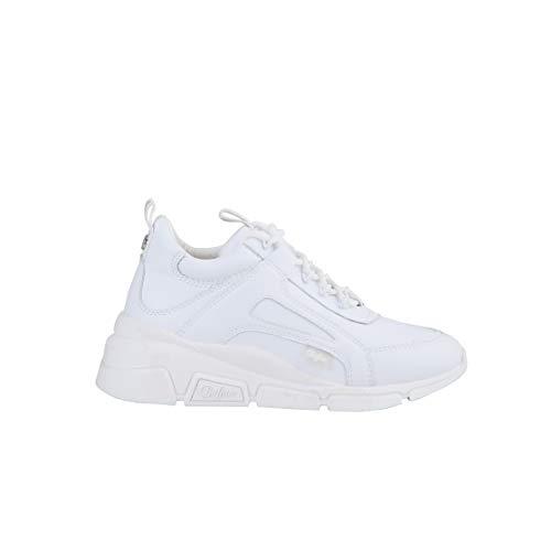 Buffalo Damen Sneaker Batter Sleek, Frauen Low Top Sneaker, Halbschuh strassenschuh schnürschuh sportschuh keil-Absatz,Weiß(White),39 EU / 6 UK