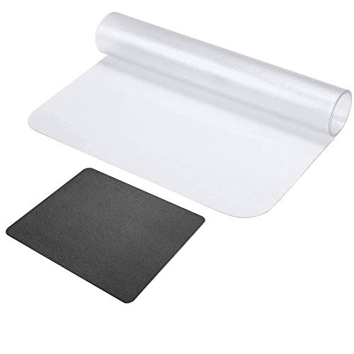 Clear Desk Pad Desk Mat Protector Writing Pad, Non-Slip PVC Desk Cover Table Cover Mat with Round Edges for Office Home, with PU Black Mouse Pad