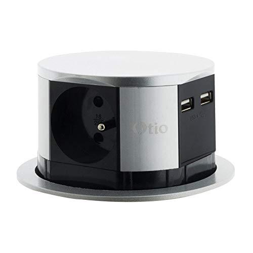 Otio 760062 - Bloque regleta retráctil compacto de acero inoxidablecon 3enchufes 16 A y 2 cargadores USB 2,4 A, sistema de apertura push-up, gris/negro, diámetro 100 mm