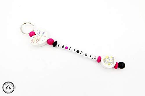 Schlüsselanhänger/Anhänger/Taschenanhänger/Taschenbaumler mit Namen - Fern bei den Sternen/Tief im Herzen/Sternenkind in pink/schwarz