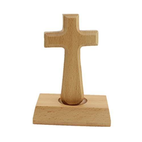 GARNECK 1 stück Holzkreuz Ornamente Holz Stehend Lateinisches Kreuz Massivholz Christian Katholischen Kreuz für Dekor