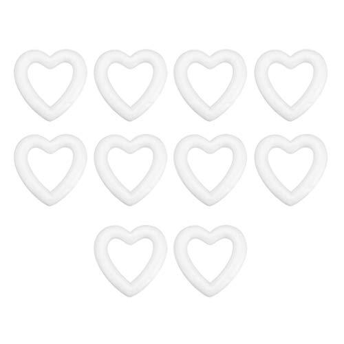 Amosfun 10 pz Schiuma Artigianale a Forma di Cuore polistirolo polistirolo espanso Anelli Ghirlanda Albero di Natale Ornamento Fai da Te Artigianato Decorazione 13.5 cm