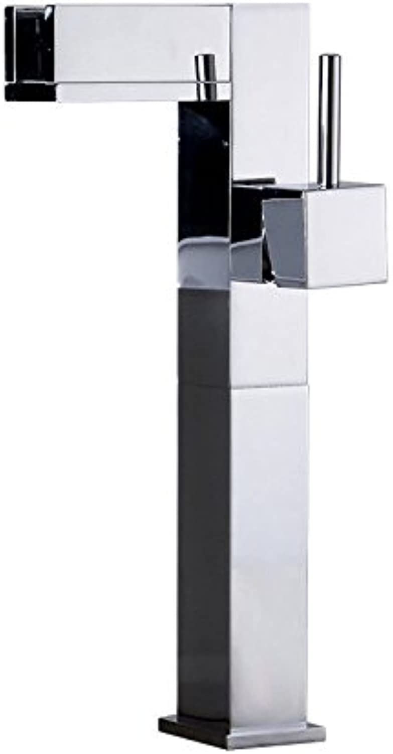 Lalaky Taps Faucet Kitchen Mixer Sink Waterfall Bathroom Mixer Basin Mixer Tap for Kitchen Bathroom and Washroom Hot and Cold Temperature Control With Light Waterfall Copper Square Temperature Control