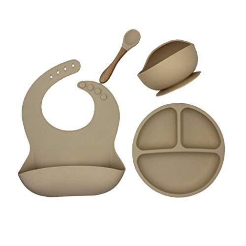 Sayletre 4 unids/Set vajilla de Silicona Babero Impermeable Color sólido sin BPA Platos de Cena para bebés Cuenco con Ventosa y para niños