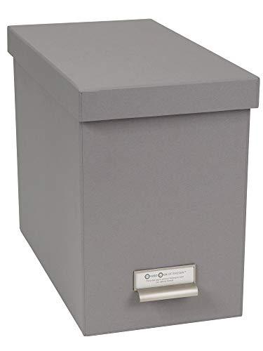 Bigso Box of Sweden Hängeregisterbox mit Deckel – stilvolle Archivschachtel inklusive 8 Hängehefter – Hängemappenbox aus Faserplatte und Papier – grau