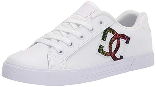 DC womens Chelsea Skate Shoe, White/Rainbow Sparkle, 7.5 US