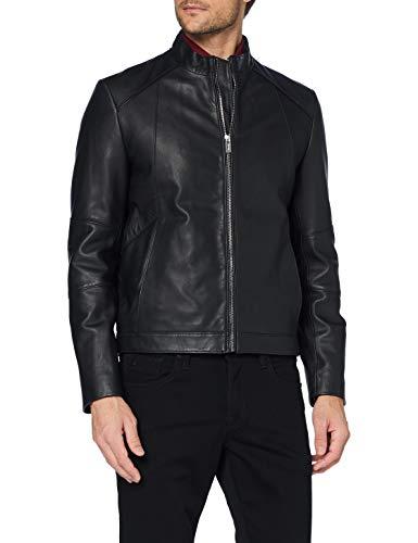 HUGO Mens Lonas Leather Jacket, Black (1), S
