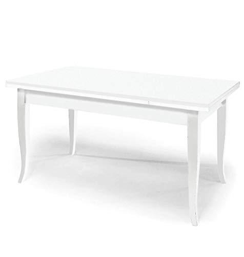 Milani Home s.r.l.s. Tavolo da Pranzo Allungabile Bianco Cm 90 X 180/230/280 per Interno Sala da Pranzo Arte Povera