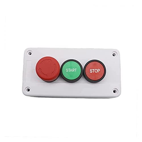 LGFCOK Carolina del Norte Parada de Emergencia NO Estación de interruptores de botón de pulsador Verde Rojo Start Stop Detener Auto-SELLERO A Prueba de Agua Interruptor de botón Industrial 600V 10A