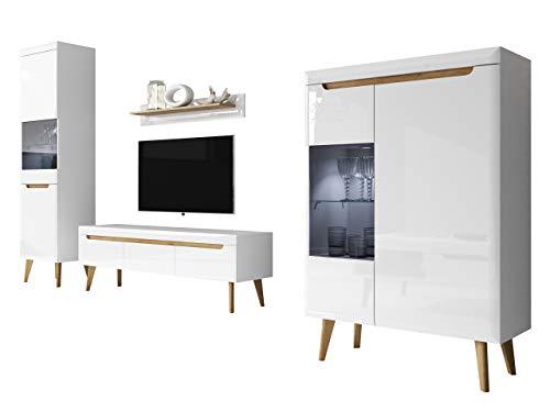 Mirjan24 Wohnzimmer Nordi II, Elegantes Wohnzimmer-Set im skandinavischen Stil, TV Lowboard, Zwei Vitrine, Wandregal, Komplett (ohne Beleuchtung, Weiß/Weiß Hochglanz + Riviera Eiche)