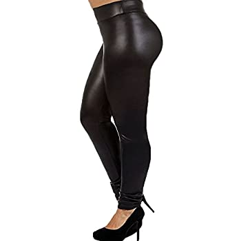 7th Element Plus Size Faux Leather Leggings Lightweight High Waisted for Womens Girls  Size 3XL ,Black