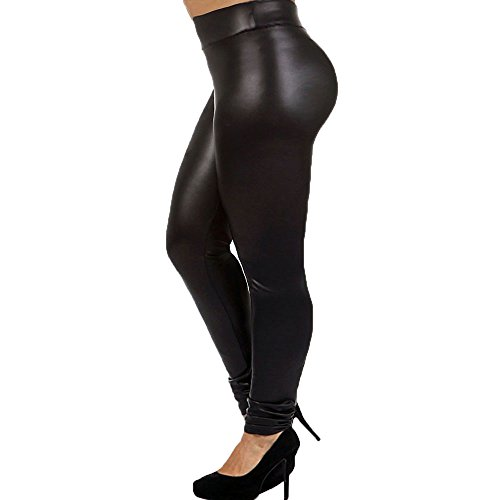 Plus Size Faux Leather Leggings Lightweight High Waisted for Womens Girls, Black, (Size 2XL)