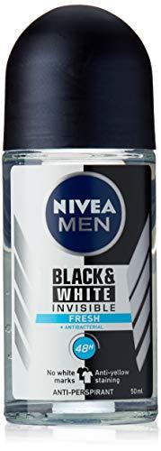 NIVEA MEN Invisible Black & White Fresh Roll On Anti-Perspirant Deodorant (50ml), Men's Anti-Stain Deodorant with 48 hour protection