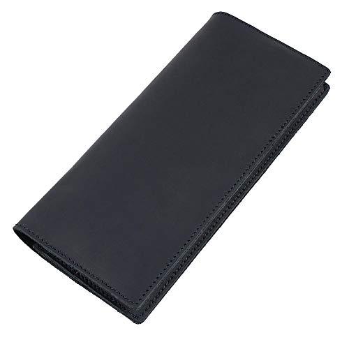 USNASLM Cartera larga de cuero titular de la tarjeta monedero monedero de los hombres bolso de embrague bolsillo interior con cremallera