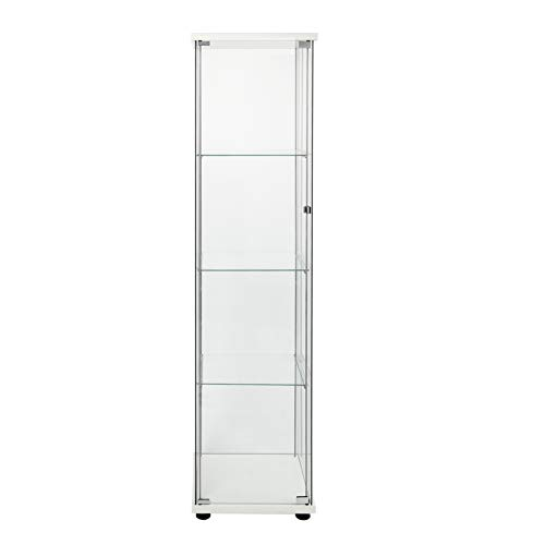 FANYUSHOW Glass-Door Cabinet, 4-Shelf Curio Cabinet,Glass Display Cabinet,White