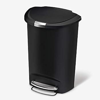 simplehuman 50 Liter / 13 Gallon Semi-Round Kitchen Step Trash Can Black