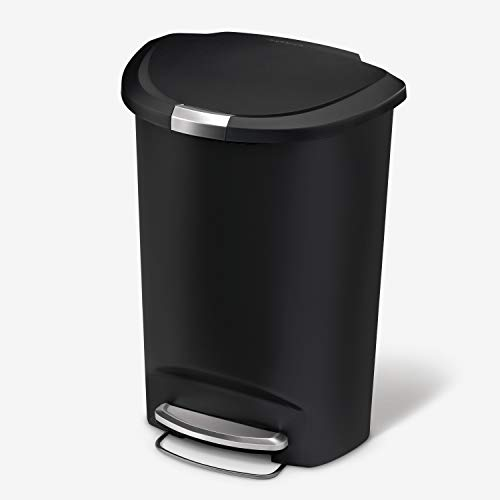 simplehuman 50 Liter / 13 Gallon Semi-Round Kitchen Step Trash Can, Black Plastic With Secure Slide Lock