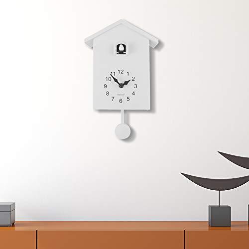 Walplus Kuckucksuhr, minimalistisch, weißes Fenster mit austauschbaren 4 Vögeln