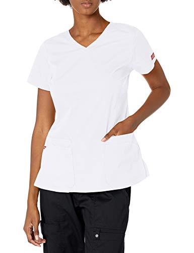 Dickies EDS Signature Damen Top mit V-Ausschnitt und Mehreren aufgesetzten Taschen Jr - Weiß - Mittel