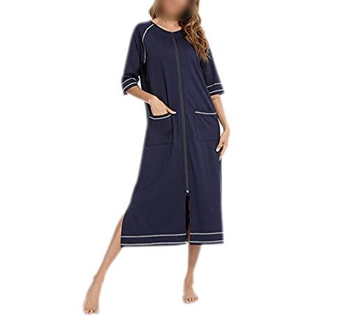 Bathrobe – Camisa de noche a rayas – Albornoz para mujer – Vestido largo otoño – Camisa de noche – Kimono azul marino XL