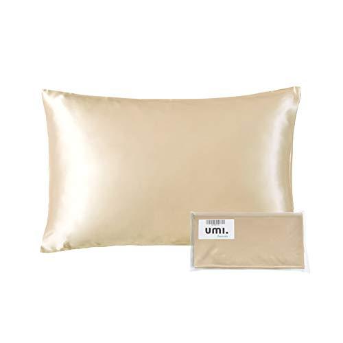 UMI. by Amazon - Seide Kissenbezug 40x60cm aus 100% Maulbeerseide 25 Momme Kissenhülle für Haar und Haut Champagner, Reißverschluss, Doppelseitiger Seide