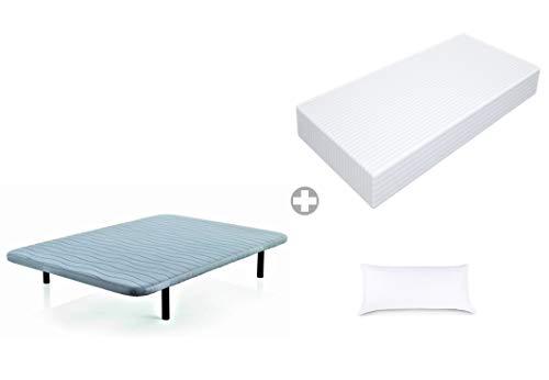 CLOEN Cama Completa con Colchón de Espuma 17 cm o 10 cm de Altura + Funda Cutí Listada + Almohada focril+ Base tapizada. (150_x_190_cm, 17)