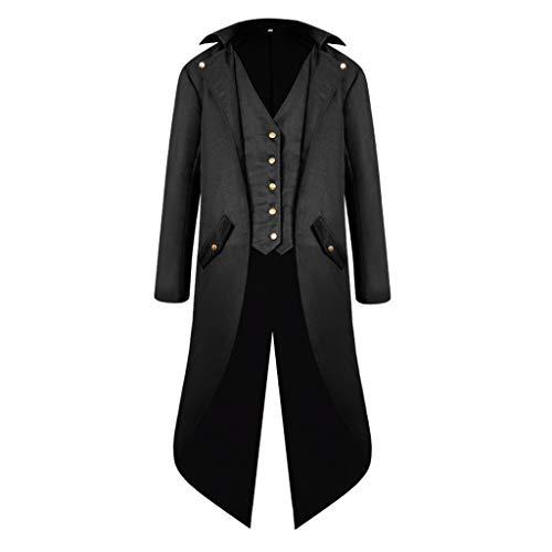 dailymall Hombres Steampunk Tailcoat Jacket Gótico Victorian Coat Paty Costume - Negro, SG