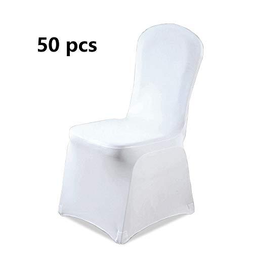 wolketon Stuhlhussen Universell 50x Weiß Stretchhusse Stuhl Husse für Esszimmer Restaurant Pflegeleicht und Langlebig