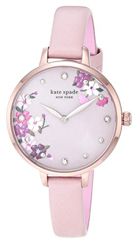 Kate Spade New York Women's Metro Slim Quartz Stainless Steel, Leather Three-Hand Watch, Color: Rose Gold, Blush Floral (Model: KSW1618)