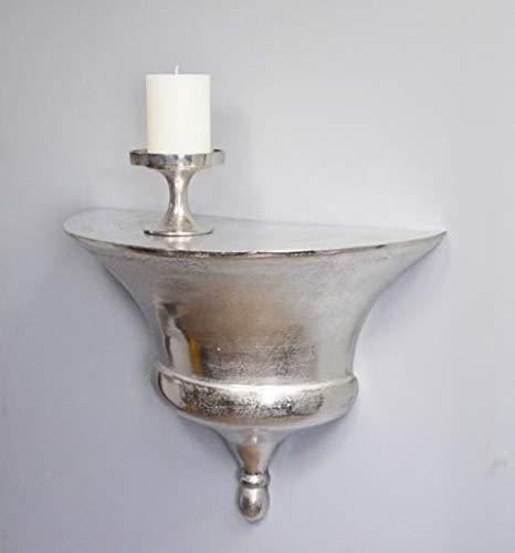 MichaelNoll Wandkonsole Aluminium Silber Ablage Wandregal, Deko Modern aus Metall, Wohnzimmer und Flur, 52 cm