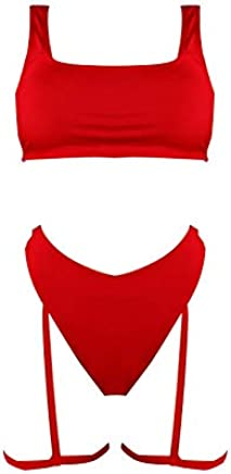 SODIAL Women Two Piece Swimsuit Tankini Set Women Swimwear Bathing Suit Monokini Padded Summer Thong Swimsuit S