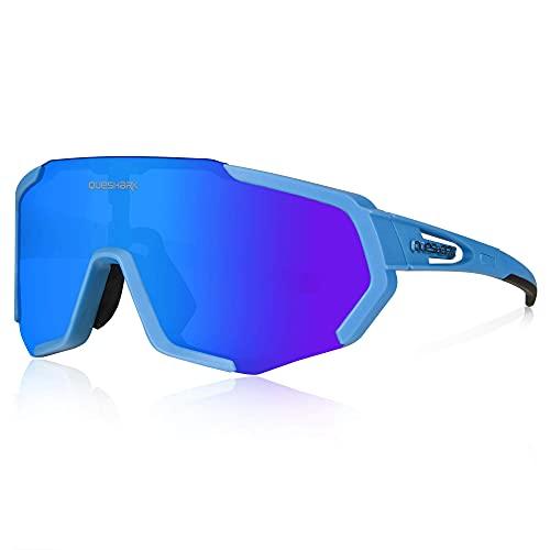 Gafas de ciclismo TR90 con marco irrompible, polarizadas para deportes, gafas de sol para hombres y mujeres, anti-UV400 para conducir globo, béisbol, correr, senderismo (azul)
