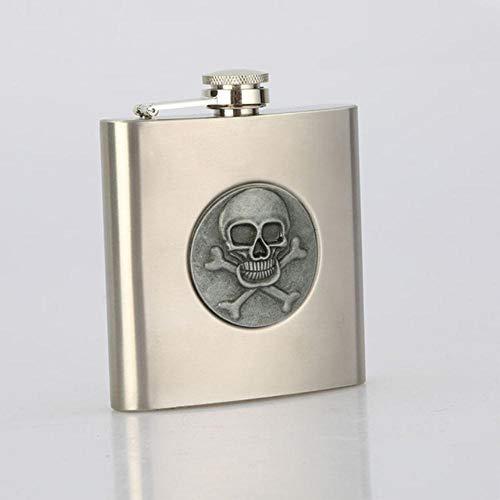 Piner Skull 6 oz 304 roestvrij staal heupfles alcoholische drank whisky wodka fles geschenken wijnpot drinkware, zilver-1